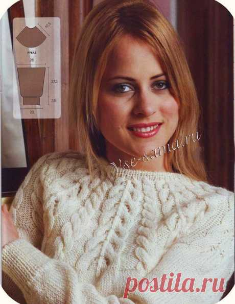 Пуловер с ажурной кокеткой и косами спицами