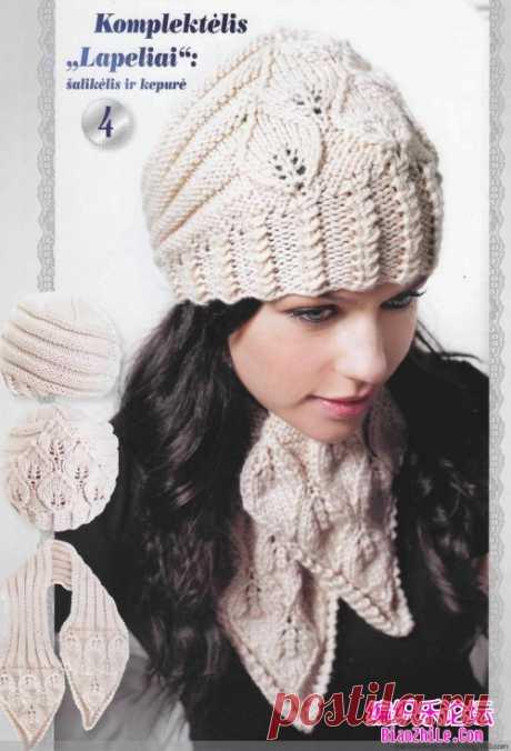 树叶花毛线帽子和围巾的织法图解-编织乐论坛