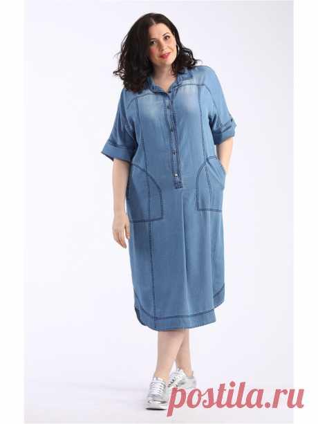 Платье, AVERI Лёгкое платье из тонкого тенсел денима. Платье с многочисленными отделками, с карманами, застежка-планка с металлическими пуговицами, рубашечный воротник, рельефы, кокетки. Цельнокроеный рукав с отворотом. Модель декорирована эффектом потертости и отстрочена темной нитью.