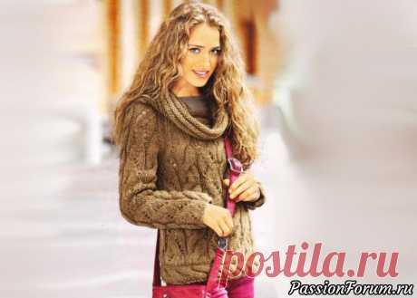 Ажурный пуловер с косами в терракотовых тонах | Вязание для женщин спицами. Схемы вязания спицами Ажурный пуловер с косами особенно красиво смотрится в благородных терракотовых оттенках. Эффект деграде объёмной трендовой пряжи создаёт переливы в косах и ажурных полосах.Размеры:38/40 (48/50).Для изготовления ажурного пуловера Вам потребуется: 550 (850) г коричневой пряжи Регпоi Lапа...