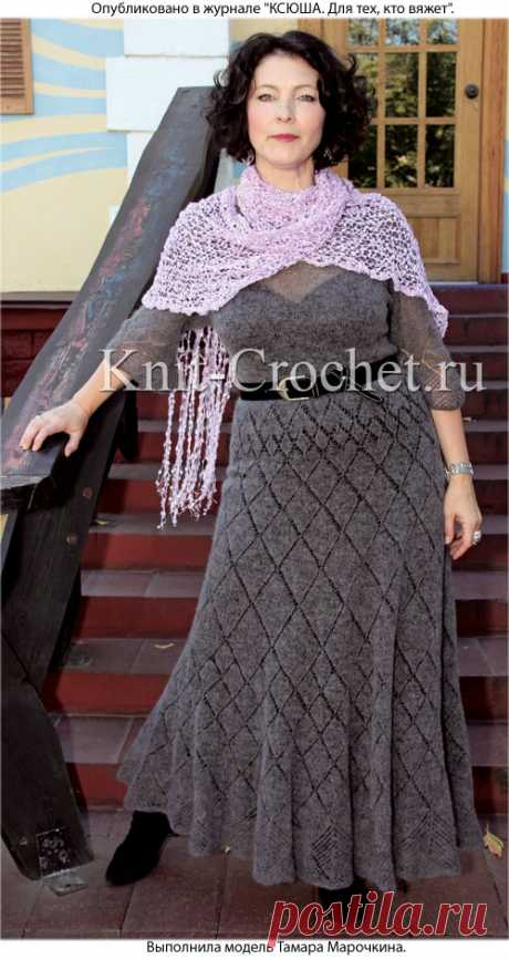 Платье с расклешенной юбкой и шарф спицами. - Платья, связанные спицами - Вязание спицами - Каталог статей - Вязание спицами и крючком