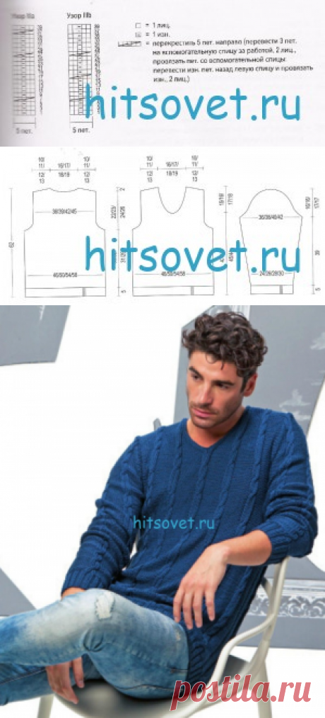 Синий мужской пуловер спицами - Хитсовет