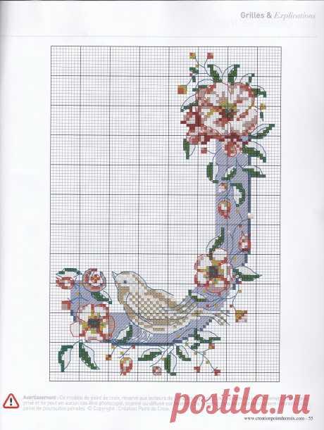 Creation point de croix Алфавит с птичками