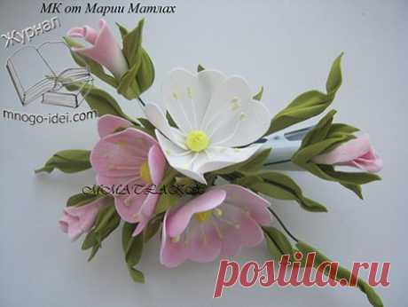 Яблоневый цвет из фоамирана — Фоамиран: фото мастер-класс