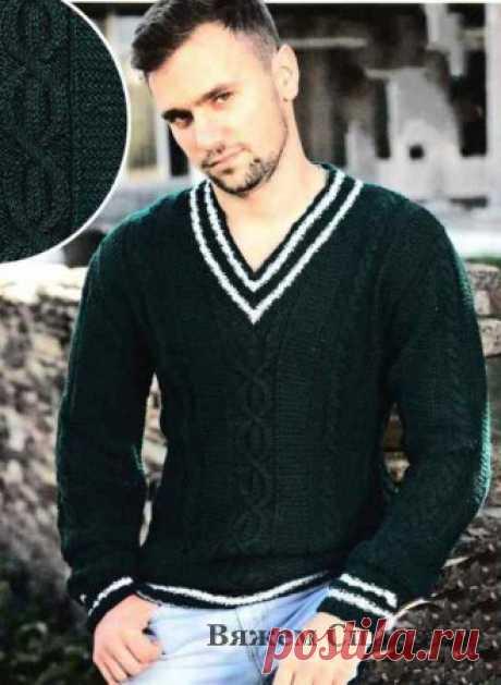 Мужской джемпер с аранами. Мужские пуловеры спицами, свитера, джемпера
