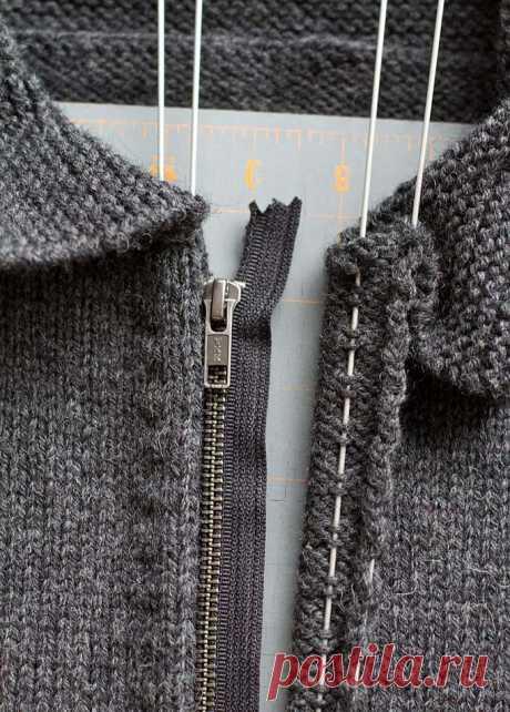 Как вшить молнию в вязаное изделие - схема вязания спицами. Вяжем Техника вязания на Verena.ru