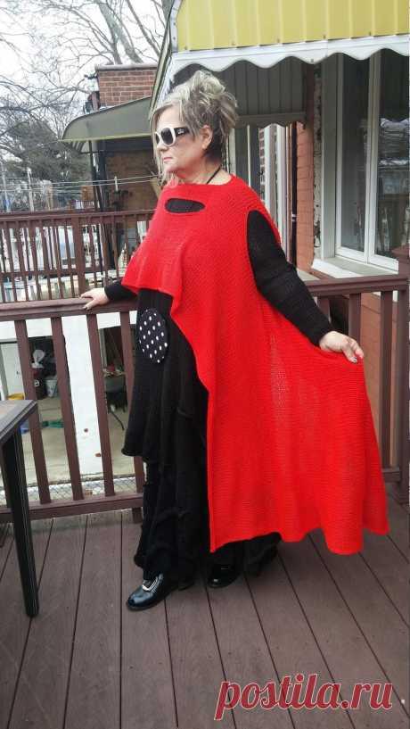 Handknitted Lagenlook Asymmetrical Long Red Vest   Etsy