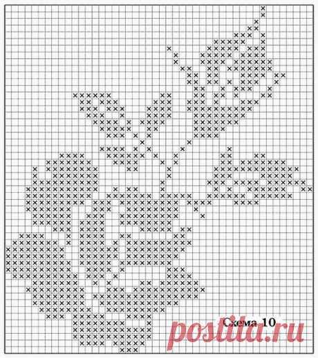 Схема для вязания филейной розы из категории Интересные идеи – Вязаные идеи, идеи для вязания