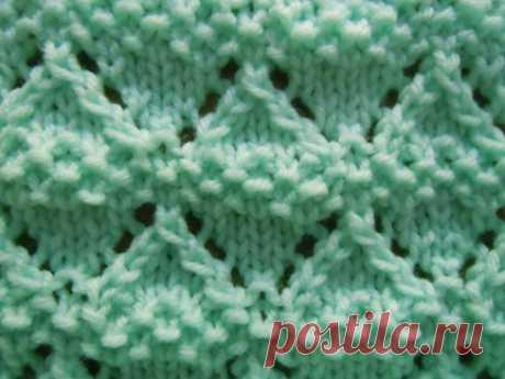 Moss lace knitting stitch; how to knit