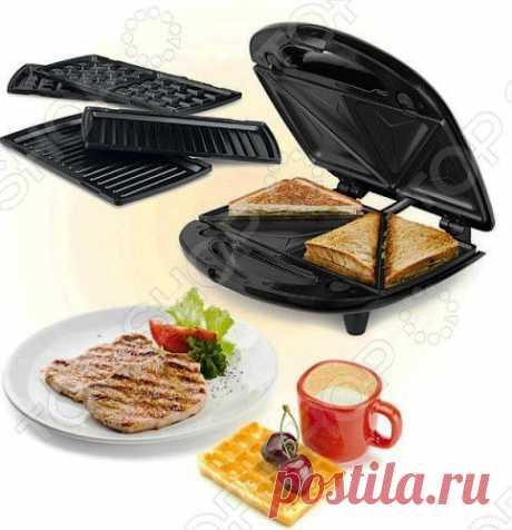 Сэндвичница Viconte VC-150 с тремя съемными насадками позволит приготовить бельгийские вафли, тосты или поджарить сочный стейк. 3 съемные формы: для вафель, гриля и горячих бутербродов