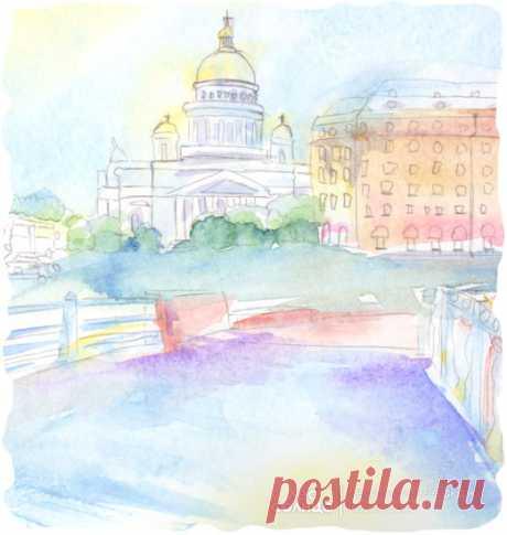 Санкт-Петербург | Акварель | Персональная именная сказка | Лес Солнца | Lessolnca.ru
