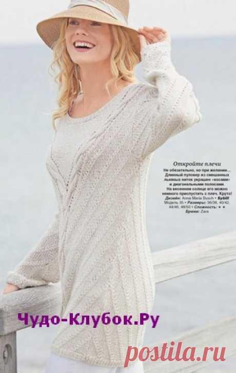 Длинный пуловер с диагональными полосами вязаный спицами 1819 | ✺❁сайт ЧУДО-клубок ❣ ❂✺Длинный вязаный пуловер из смешанных льняных ниток украшен косами и диагональными полосами. На весеннем солнце его можно слегка приспустить с плеч. ❂ ►►➤6 000 ✿моделей вязания ❣❣❣ 70 000 узоров►►Заходите❣❣ %