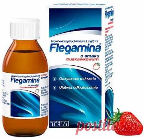 FLEGAMINA Strawberry syrup 120ml  chronic bronchitis Indications for use of the preparation: bronchial diseases with thick, excessively viscous secretions, chronic bronchitis, cystic fibrosis