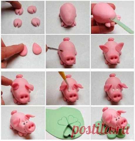Как слепить свинью из пластилина