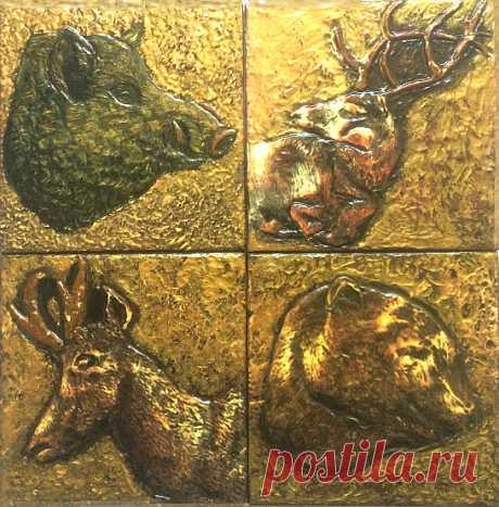 плитка ручной работы. плитка авторская, плитка охота, охота, дикие животные, плитка, панно дикие животные, панно на стену, стиль шале, декор загородного дома