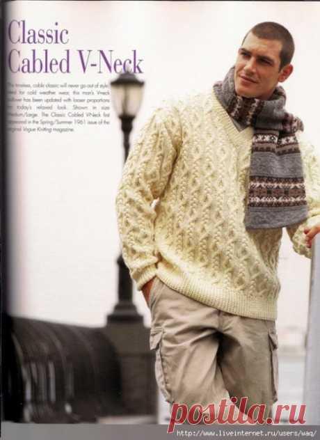 Мужской классический пуловер с V образным вырезом