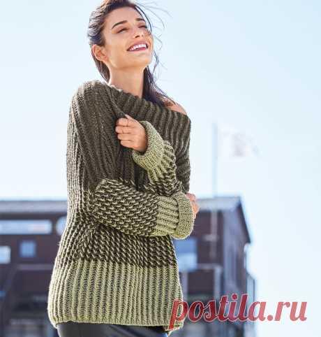 Двухцветный джемпер «оверсайз» - схема вязания спицами. Вяжем Джемперы на Verena.ru