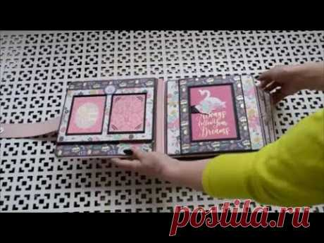 """МK альбом """"Princess""""/Разворот №1/pop up page/DIY paper crafts tutorial/Scrapbook Ideas/DIY 3D card"""