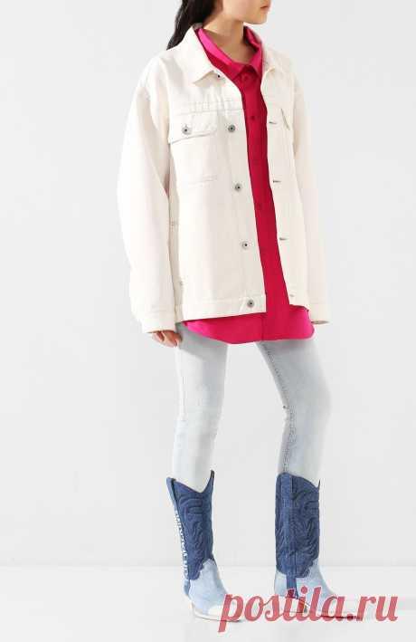 Женские голубые текстильные сапоги OFF-WHITE — купить за 84450 руб. в интернет-магазине ЦУМ, арт. 0WIA124R207730847101