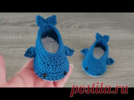 ZAPATITOS BABY SHARK A CROCHET - PASO A PASO - GANCHILLO - 3 A 6 MESES -