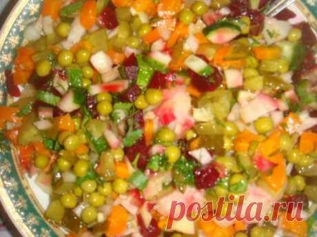 Винегрет с зеленым горошком вкусный и простой рецепт с фото пошагово - 1000.menu