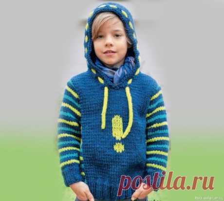 Пуловер с капюшоном для мальчика | Вязание спицами для детей