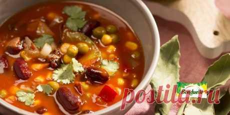 Томатный суп с красной фасолью, кукурузой и беконом Рецепт - Томатный суп с красной фасолью, кукурузой и беконом - с фото