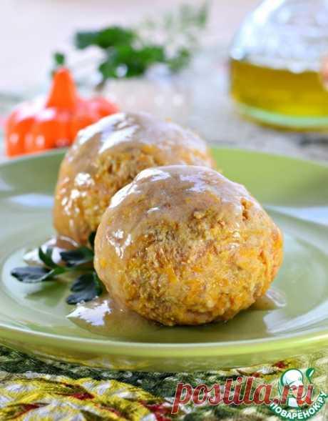 Pumpkin and meat meatballs - \u000d\u000aMincemeat — 450 g\u000d\u000aPumpkin — 250 g\u000d\u000aOnion — 100 g\u000d\u000aStarch — 1 tablespoon.\u000d\u000aWheat flour \/ Flour — 1 tablespoon.\u000d\u000aVegetable oil — 2 tablespoons.\u000d\u000aWater — 400 ml\u000d\u000aSalt — to taste\u000d\u000aSpices — on vk\u000d\u000a\u000d\u000aSource: http:\/\/www.povarenok.ru\/recipes\/show\/150756\/