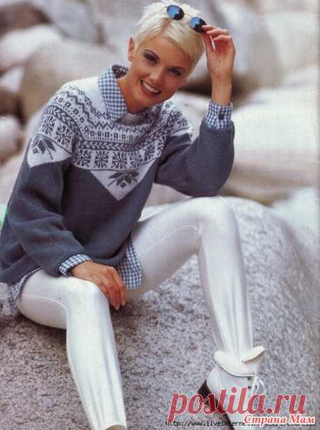 * White-blue Norwegian pullover - Jacquard - the Country of Mothers