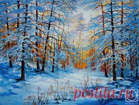 «Зимний пейзаж» картина Кораблевой Елены маслом на холсте — заказать на ArtNow.ru