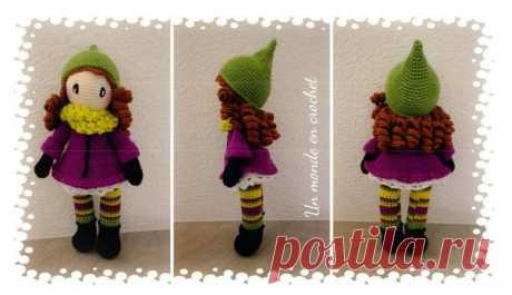 """Кукла Sarah, вязание крючком, описание в PDF Схема вязания """" Кукла Sarah """" крючком в PDF, скачайте бесплатно подробное описание."""
