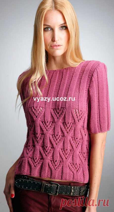 Розовый пуловер - Короткий рукав - спицы