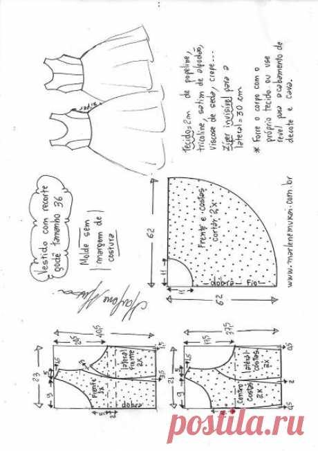 Vestido com recorte princesa godê | DIY - molde, corte e costura - Marlene Mukai