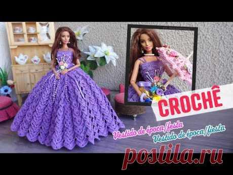 Vestido de Época/Festa em Crochê para Bonecas