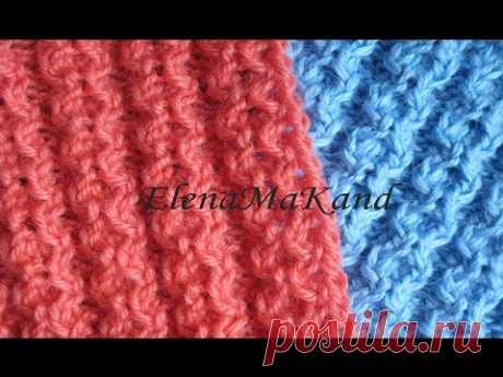 Рельефная резинка спицами. Knitting relief rib, knit relief pattern