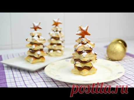 Puff Pastry Christmas Trees with Nutella - Easy Christmas Dessert Recipe Learn how to make Christmas trees with puff pastry and Nutella. They are ideal for Holiday parties! Friends and family will surely be impressed by this delicious dessert!  ▼ INGREDIENTS LIST:  - (ingredients for 3 puff pastry trees) -   - 1 puff pastry sh