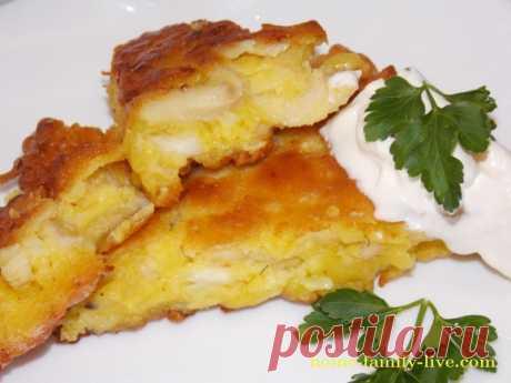 Ленивый пирог с курицей, на сковороде