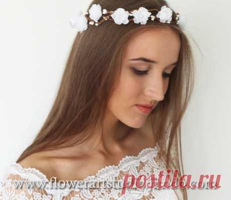 White Bridal Headpiece White Bridal Flower Crown Feminine
