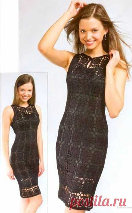 El vestido negro de los motivos cuadrados. El vestido de noche tejido por el gancho del esquema  