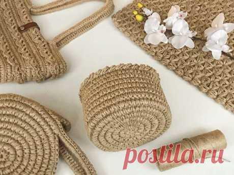 Мастер-класс : Вяжем корзину из джута: вязание идеального круга. Супер узор для обвязки | Журнал Ярмарки Мастеров