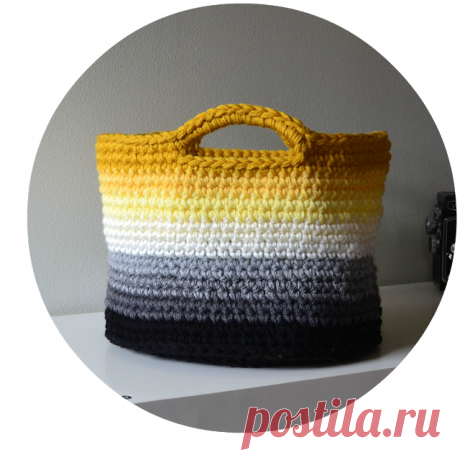 Knitting by a hook at color: Drawing of a basket of Ombre