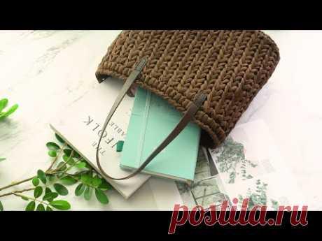[코바늘가방] 세로무늬 라탄 스타일의 여름가방 (짧은뜨기) ㅣ  crochet paper yarn shoulder bag