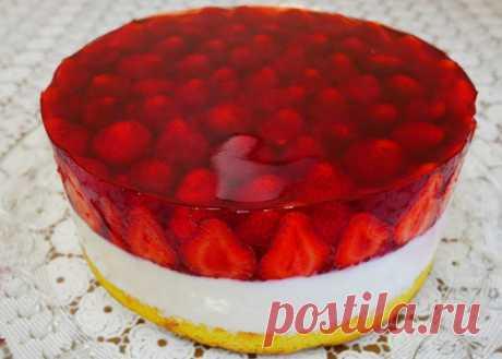 Летний торт с творожным суфле и клубничным желе - Готовьте с Любовью