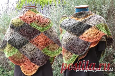 Вязание шали чешуйками.