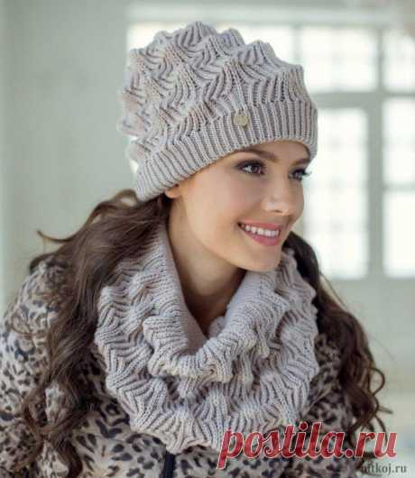 Вязание спицами - Шапки спицами - Комплект шапка и снуд красивым узором