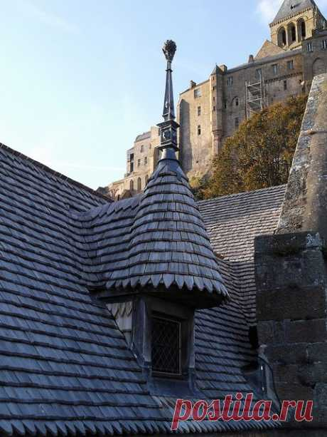 #Mont Saint Michel, #Normandy - France - construction on the island started in the 8th century AD. Here, shingle roofing on a house.  |  Pinterest