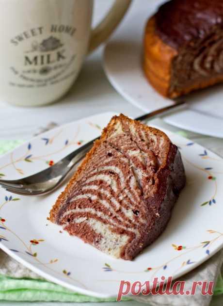 Полосатый пирог к чаю «Зебра»