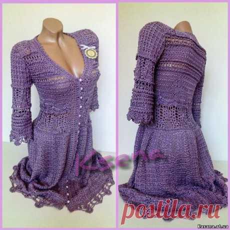 № 21 Мода с подиума Платье крючком .Crochet dress Dress Montoro - Платья, сарафаны для женщин -  - Вязяные вещи - Вязаные вещи на заказ