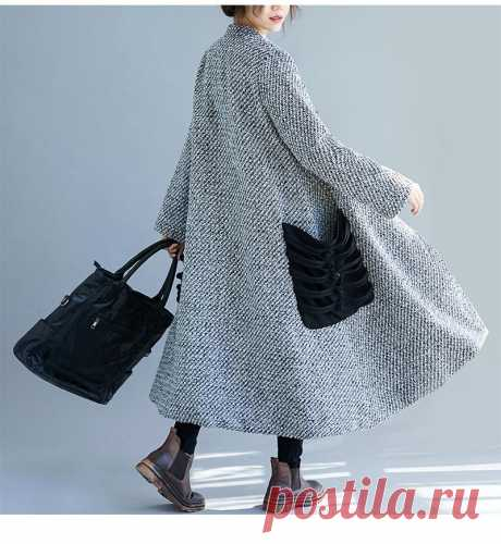 Grey Women Winter Thicken Female Outerwear Vintage Chinese Style Butto - idetsnkf