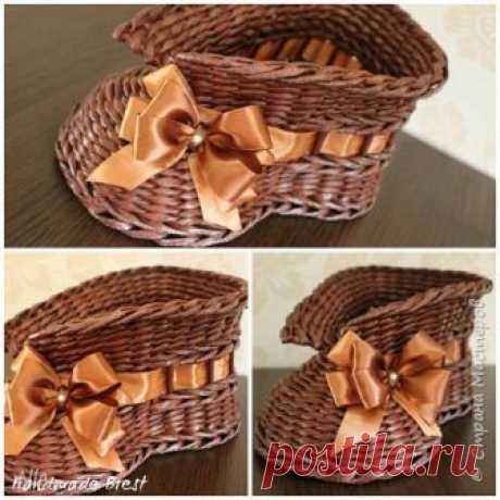 Плетеные кашпо в виде башмачков — Делаем Руками